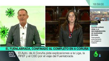 """La alcaldesa de A Coruña afirma que aun no se puede hablar de rebrote por los casos del Fuenlabrada: """"Es una situación limitada"""""""