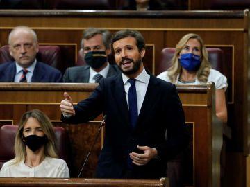 El líder del PP, Pablo Casado, en la sesión del pleno del Congreso de los Diputados