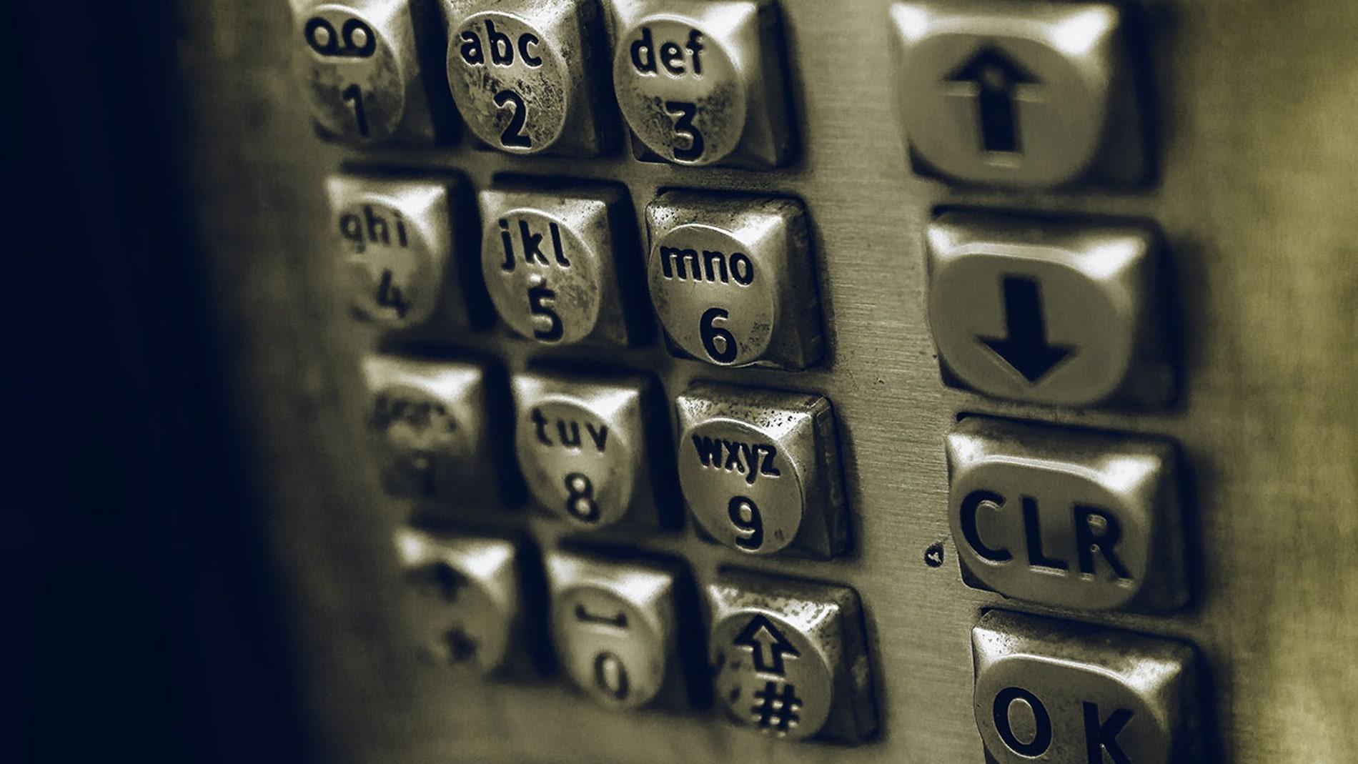 Teclado de una cabina de teléfono