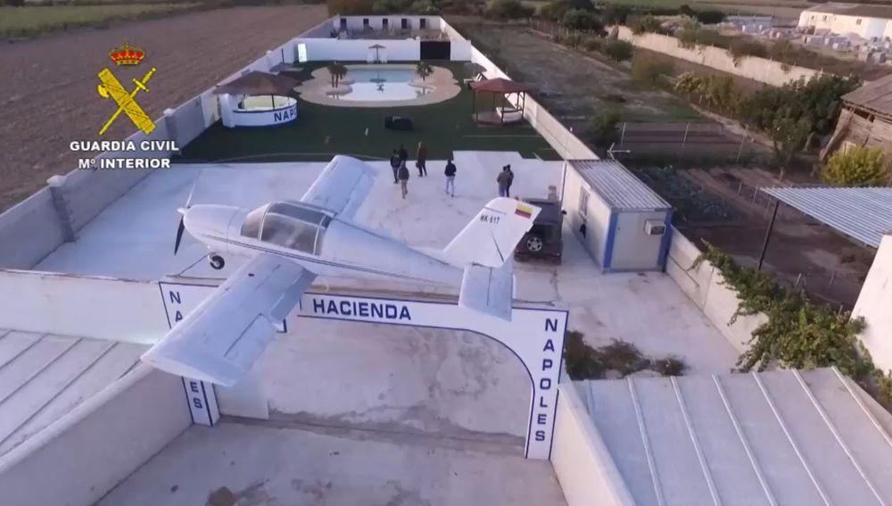Vista de la Hacienda de uno de los cabecillas de la organización desmantelada.