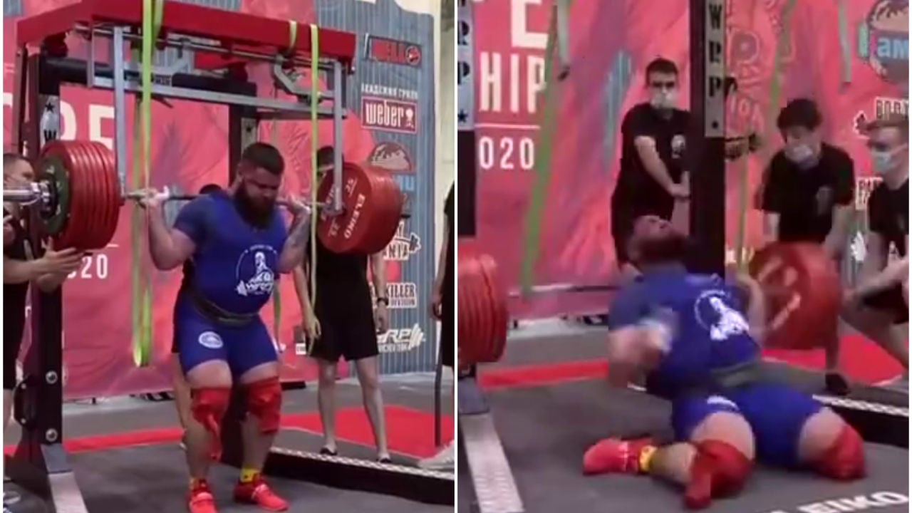 El halterófilo ruso Alexander Sedykh se fractura las dos rodillas