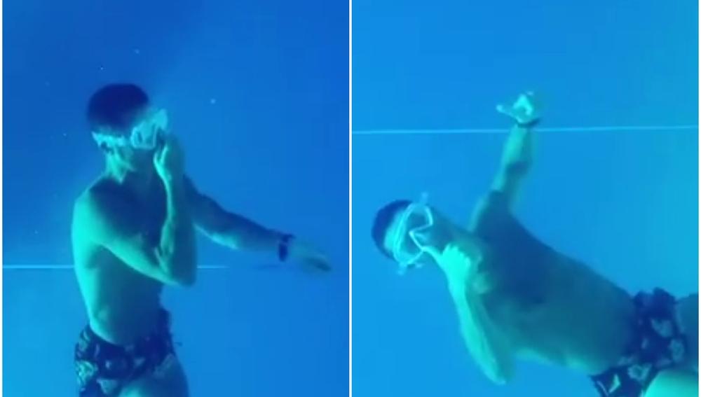 Cristiano, de zambullida en el mar