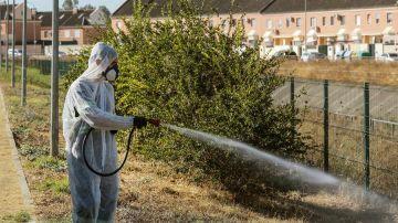 Un operario fumiga unos jardines en Coría del Río para intentar detener al virus del Nilo