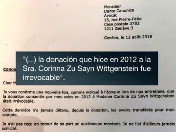 Imagen de la carta de Juan Carlos I a su abogado