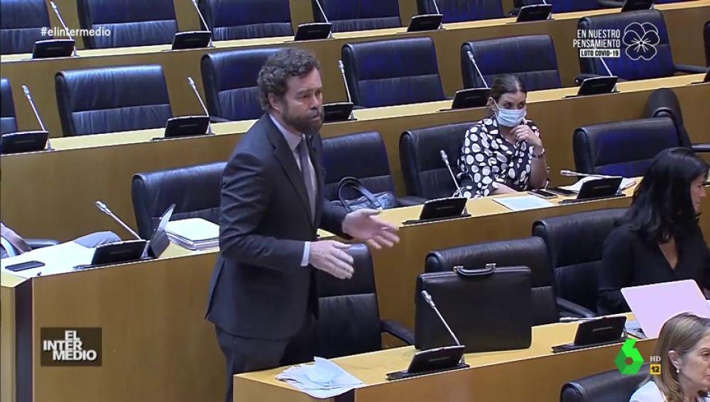 """Vídeo manipulado - La respuesta de Espinosa a Iglesias antes de abandonar la comisión: """"Afeite usted al canario si quiere"""""""