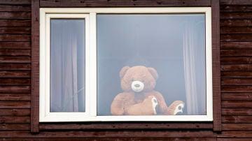 Un oso de peluche te vigila