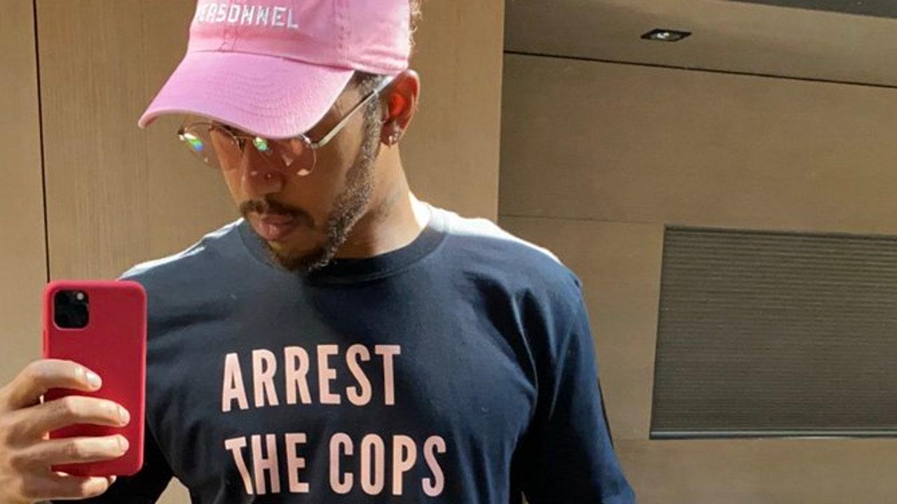 Lewis Hamilton, con una camiseta reivindicativa