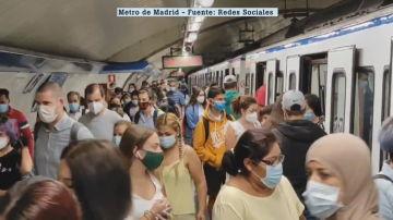 Aglomeraciones en el Metro de Madrid
