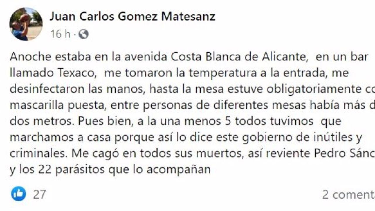 """Polémicas palabras del portavoz del PP en La Granja: """"Me cago en todos sus muertos, así reviente Pedro Sánchez y sus 22 parásitos"""" 69"""