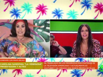 Las divertidas caras en directo de los zapeadores al conocer a Carolina Sandoval
