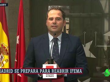 """Aguado llama al Gobierno central a intervenir de forma """"urgente y necesaria"""" en el control de la pandemia en Madrid"""