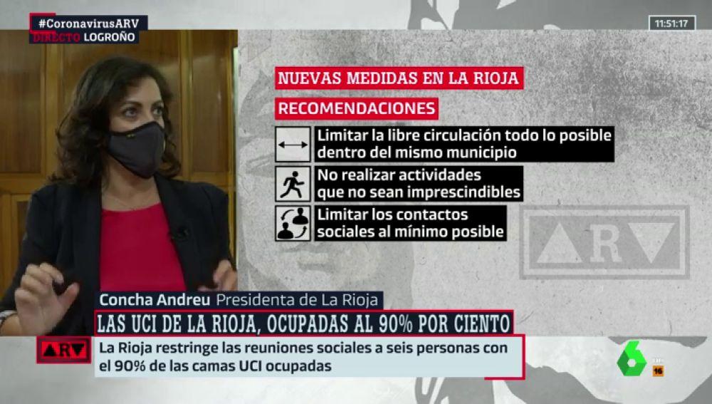 """Concha Andreu, sobre la ocupación al 90% de las camas UCI en La Rioja: """"Ha habido mucha relajación de todos"""""""