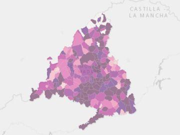Mapa con la información epidemiológica COVID-19 por municipios y distritos de Madrid.