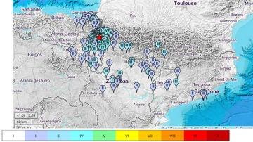 Lugares donde se ha sentido el terremoto