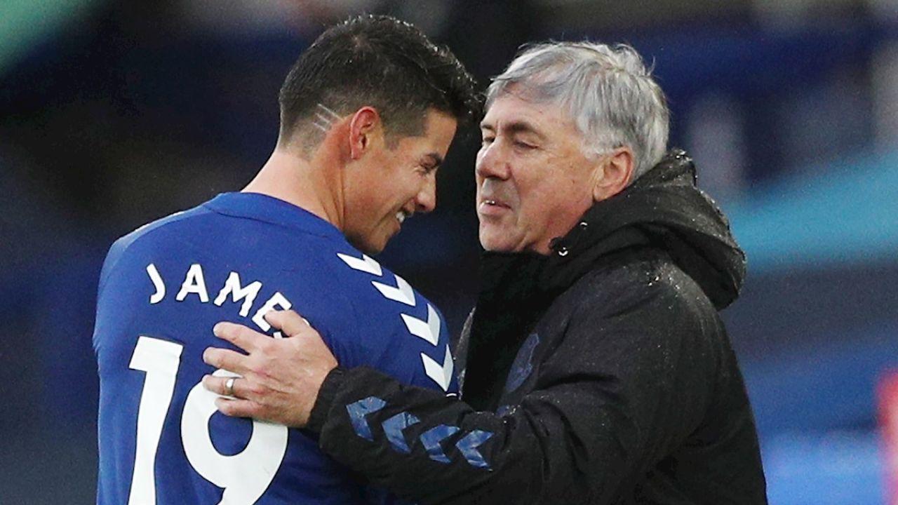 James Rodríguez y Carlo Ancelotti