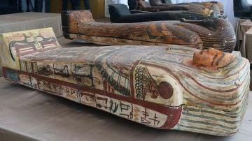 Imagen de los ataúdes encontrados en Egipto