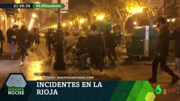 Imágenes de los enfrentamientos entre manifestantes violentos y Policía en Logroño