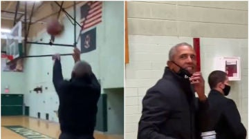 Barack Obama y su espectacular triple
