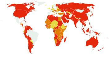 Mapa de restricciones a los viajeros procedentes de España
