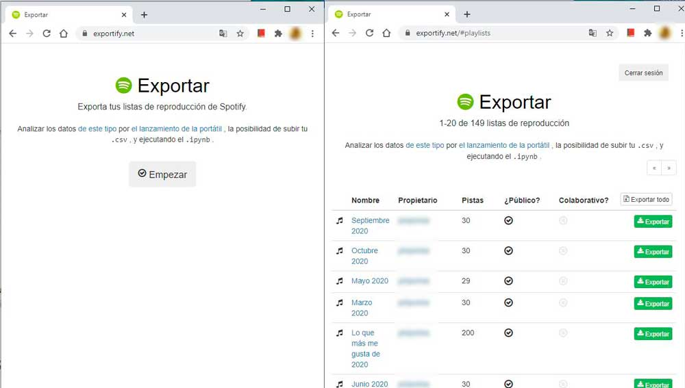 Con exportify exporta tus listas de reproducción