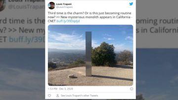Aparece un tercer monolito en la cima de una montaña en California
