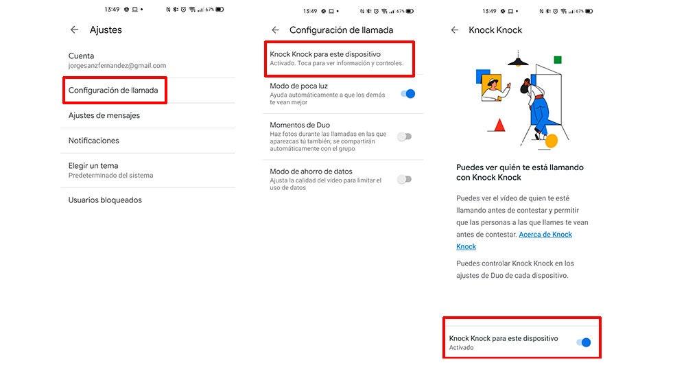 Activando Knock Knock de Google Duo