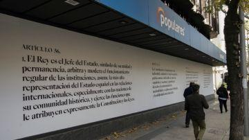 Fachada de la sede del PP en Génova por la Constitución