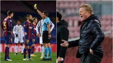 Jordi Alba y Ronald Koeman protestaron enérgicamente al árbitro
