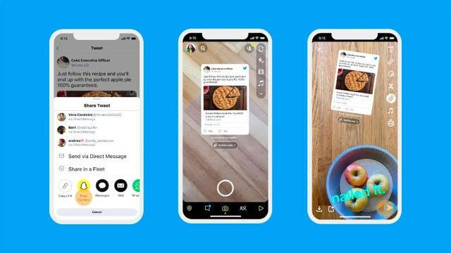 Los tuits integrándose en Snapchat
