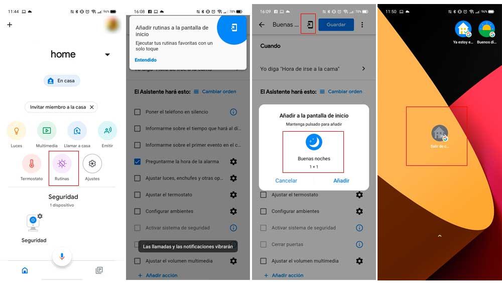 Creando accesos directos a las rutinas de Google Home