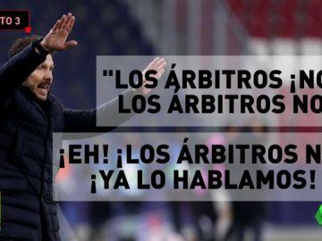 La bronca de Simeone a sus jugadores por protestar al árbitro