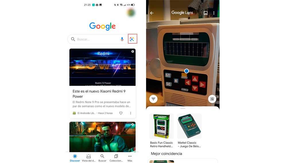 Realizando búsquedas usando la cámara del móvil