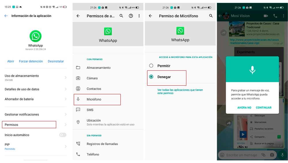 Denegando a WhatsApp el acceso al micrófono