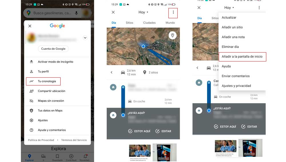 """Creando un acceso directo a la cronología de Google en el """"escritorio"""" del móvil"""