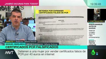 Detenida una mujer por vender certificados falsos de PCR negativa por 40 euros