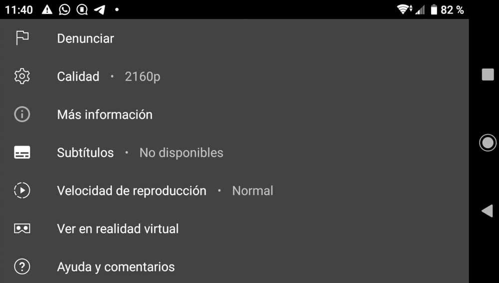 Ajustes de Vídeo en YouTube