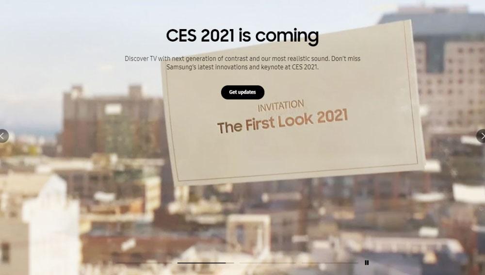 Anuncio en la web de Samsung del evento de enero de 2021.