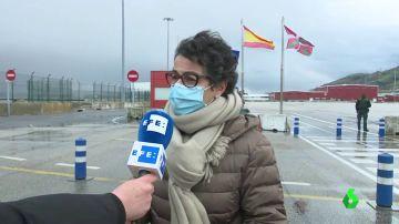 La ministra de Exteriores, Arancha González Laya, en el puerto de Bilbao