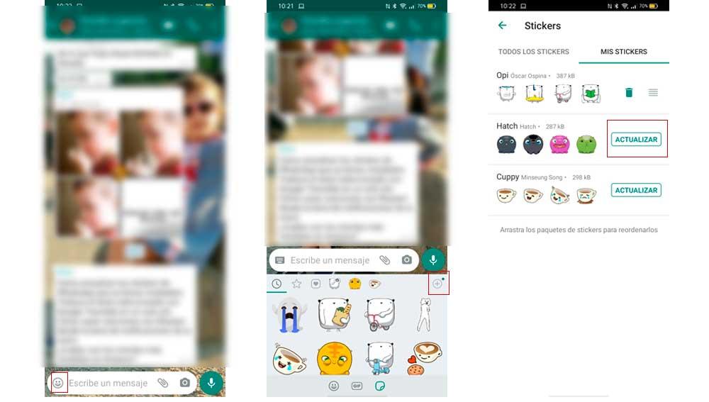 Actualizando colecciones de stickers de WhatsApp