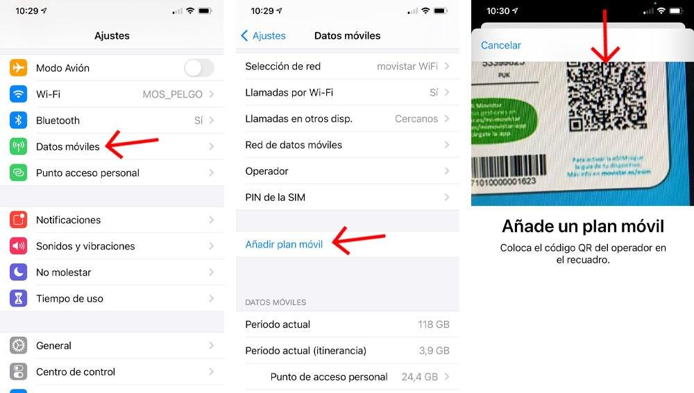 Cómo añadir un nuevo plan móvil en un iPhone.
