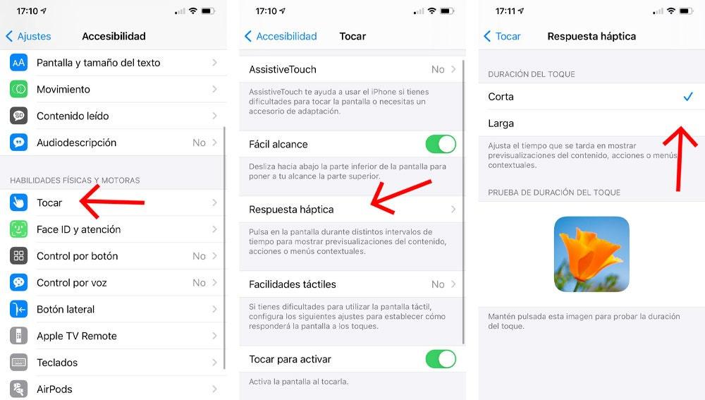 Controla la respuesta háptica de la pantalla del iPhone.