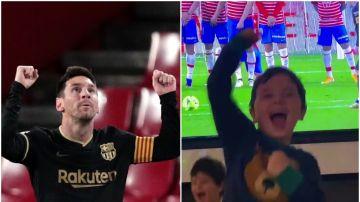 Leo Messi y Mateo Messi celebran un gol