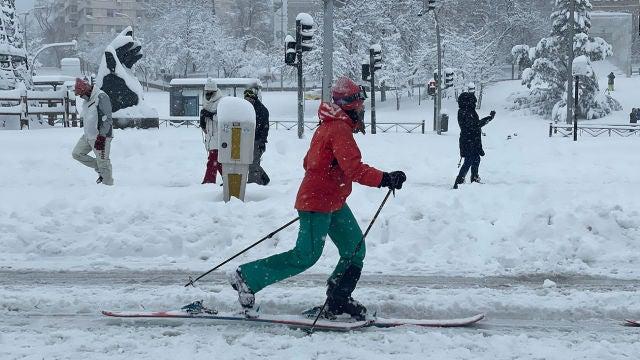 Esquiando por Madrid durante Filomena