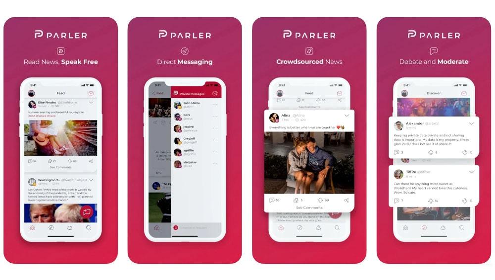 Capturas de pantalla de Parler para iPone.