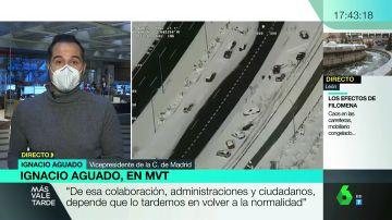 """Aguado pide la colaboración ciudadana para retirar hielo: """"De ello depende que tardemos una semana o 20 días en recuperarnos"""""""