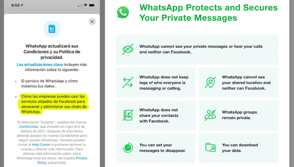 Publicación de WhatsApp sobre los cambios en sus 'Términos de uso'.