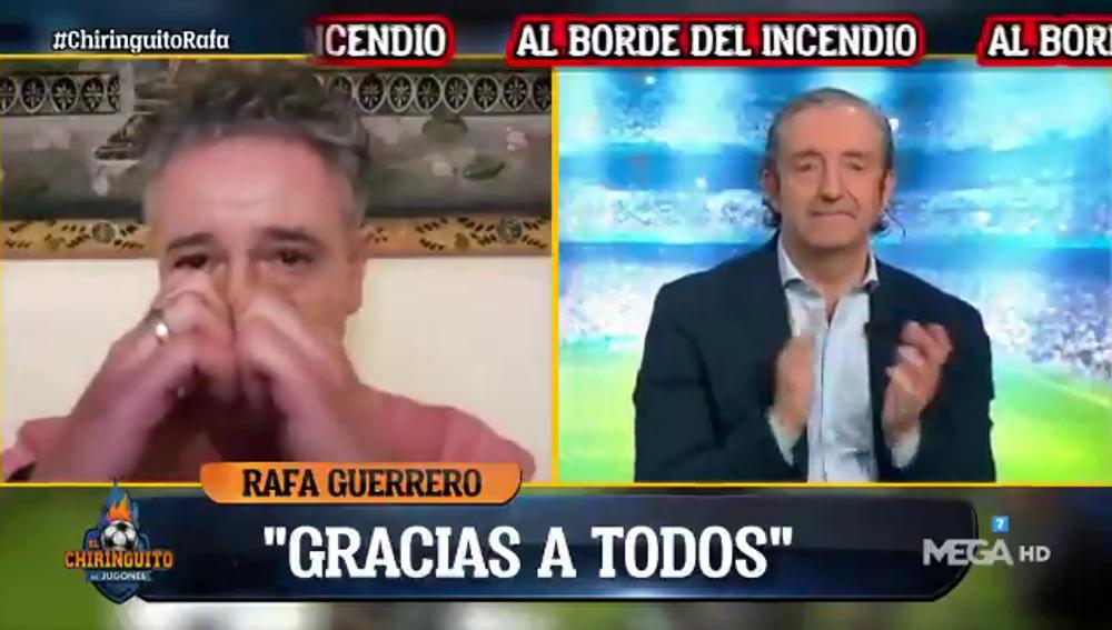 """Las lágrimas de Rafa Guerrero en 'El Chiringuito' tras su """"noche más dura"""" a raíz del incendio"""