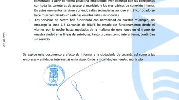 Descarga aquí el justificante de tu Ayuntamiento para aquellas personas que no puedan acudir al trabajo por el temporal