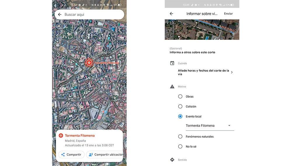 Tormenta Filomena en Google Maps