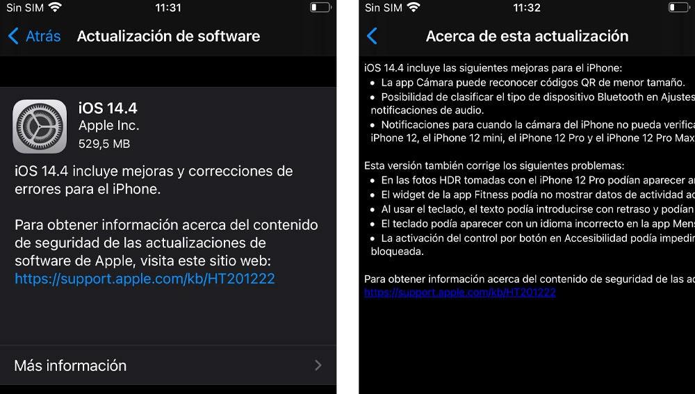 Información de actualización a iOS 14.4.